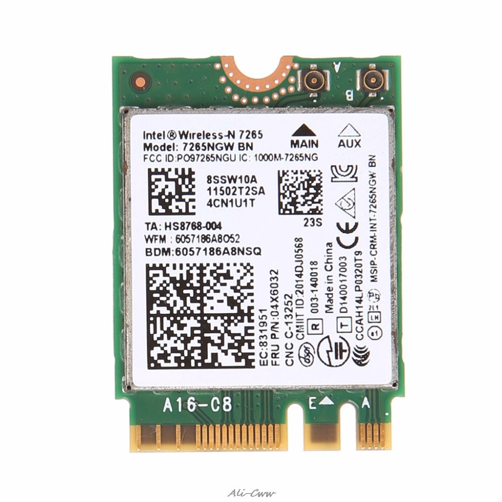 For Intel Wireless-N 7265 7265NGW BN Dual Band 2x2 Wi-Fi Bluetooth 4.0 WiFi Card For Lenovo ThinkPad Wireless Card