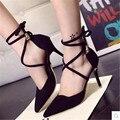La moda de primavera 2016 de bandas de vendaje zapatos de tacón alto tacones delgados de moda sexy dulce dedo del pie acentuado femenino