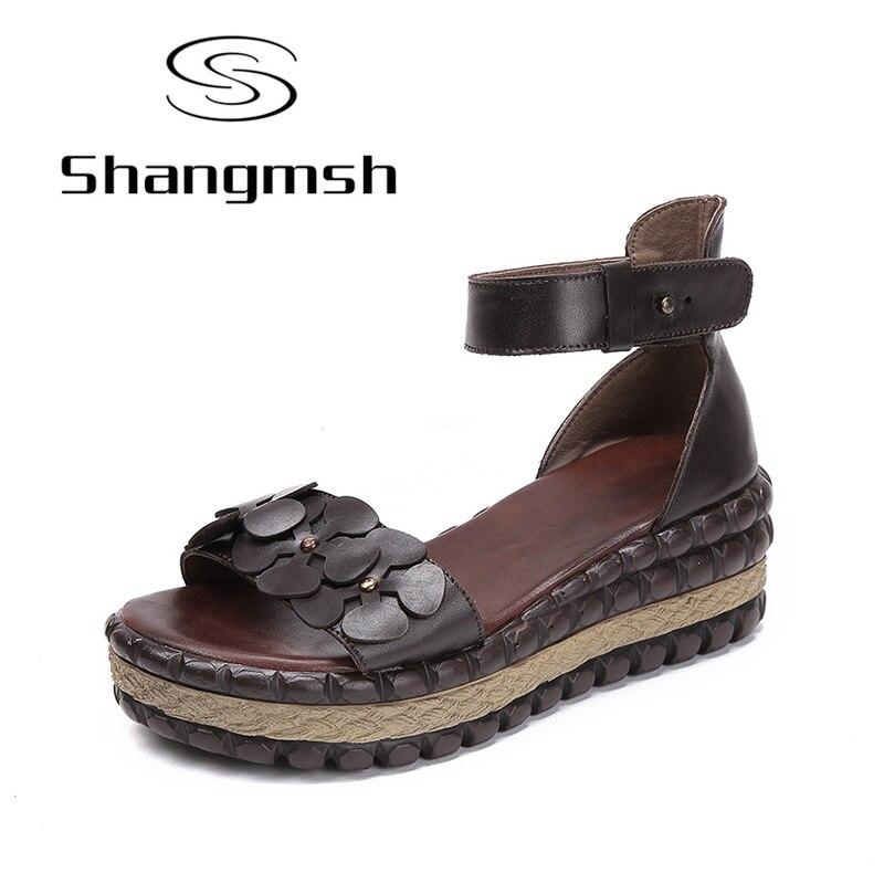 Shangmsh Gladiator Sandals Women Flip Flops Wedge Sandals 2018 Genuine Leather High Heel Shoes Ladies Summer Platform Sandal 2018 rome shoes women sandals gladiator shoes woman wedges heel ladies sandals platform sandal mujer