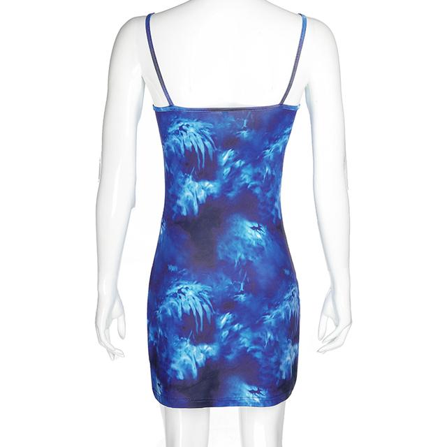 Sweetpropio azul Tie Dye impreso gótico verano vestido de club de hombro Delgado Sexy vestidos de fiesta mujeres ropa de vacaciones de noche