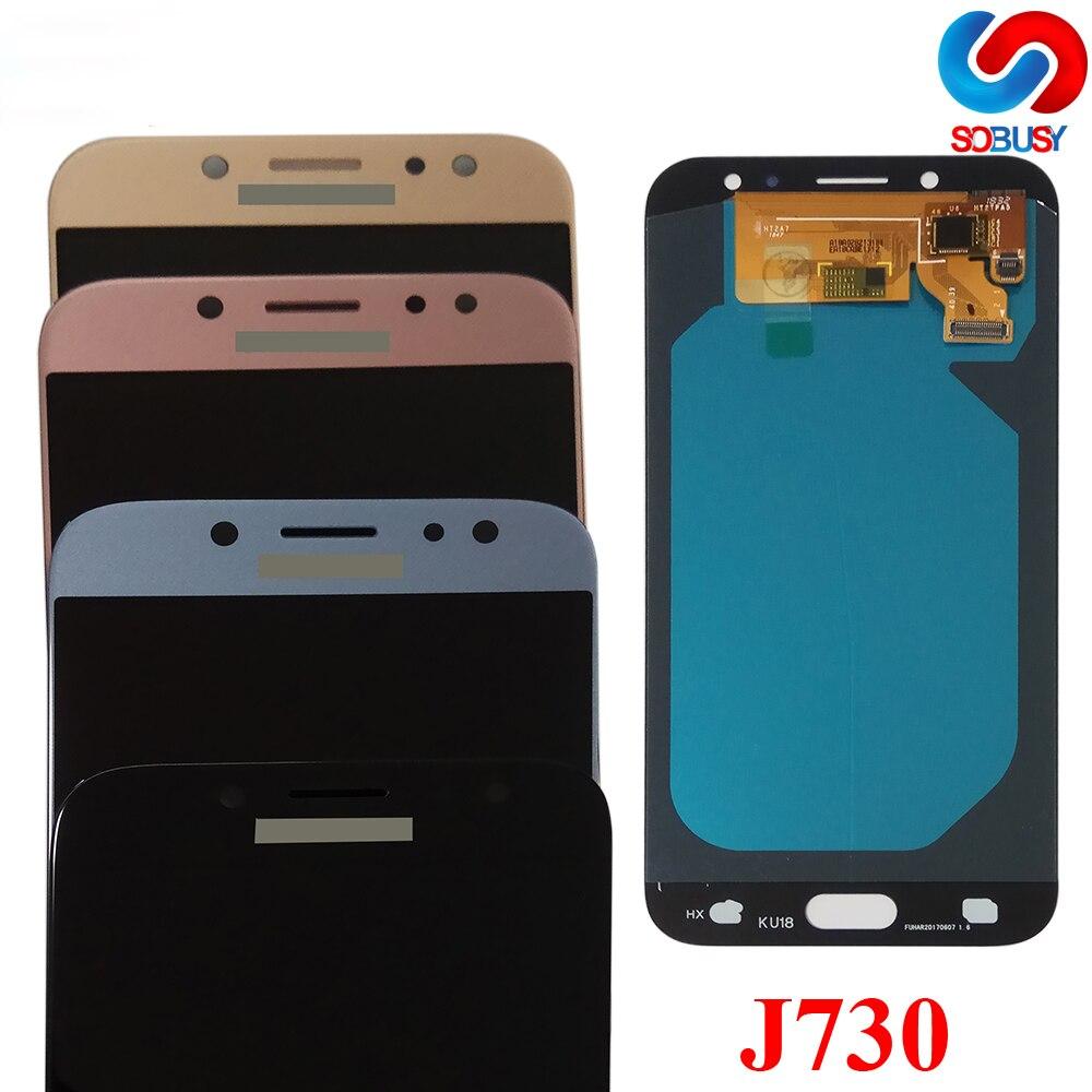 Super AMOLED LCD Para SAMSUNG Galaxy J7 Pro J730 2017 J730F J730F/DS J730G J730GM J730OG LCD Display Touch tela Digitador Da Tela