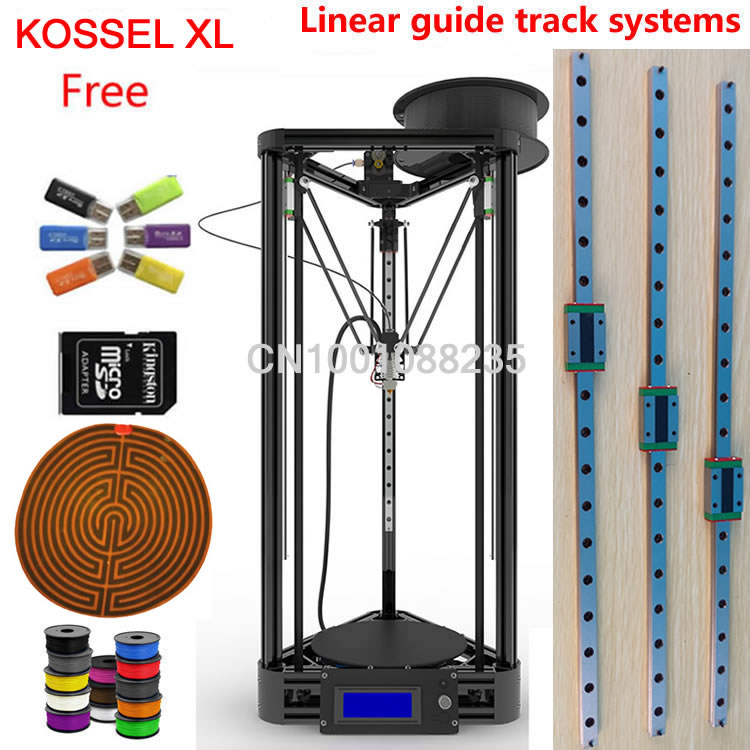 Heated bed with linear guide kossel XL black or gold hotbed Machine kit 3d printer kossel k800 XL 3d printer kit