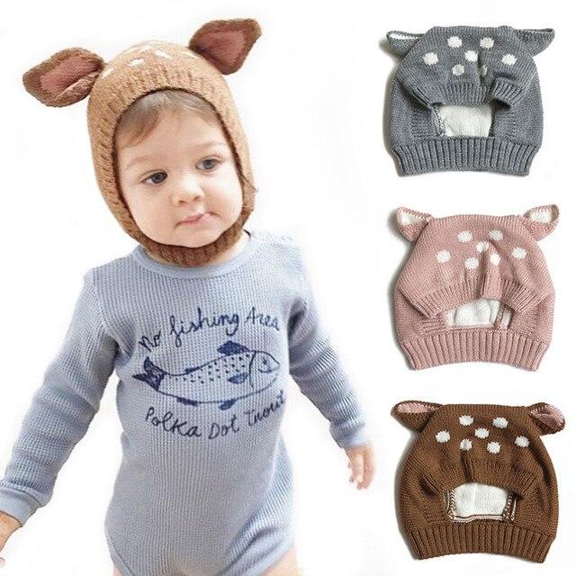 a502e83f8f004 Spring Cute Deer Ears Baby Hat Knit Soft Baby Boy Hat Bonnet Baby Girl Hats  Beanie