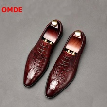 OMDE New Arrival Crocodile Pattern Genuine Leather Oxford Shoes For Men Pointed Toe Lace-up Formal Fashion Dress