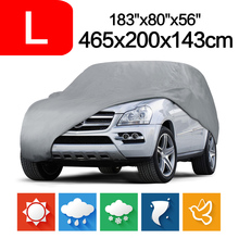 2015 New Outdoor Full Car Cover Sun UV Snow Dust Resistant Protection Size L Car covers Gray Free shipping D05