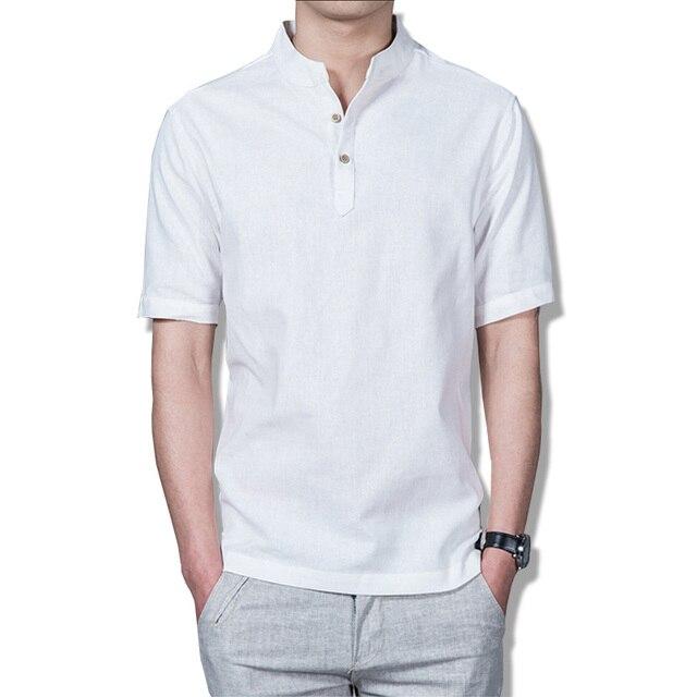 07b5c00016f3 2017 sommer männer Pullover Leinen Kurzen Ärmeln Shirts Atmungsaktive  Herren Qualität Casual Shirts Solide Baumwolle Shirts