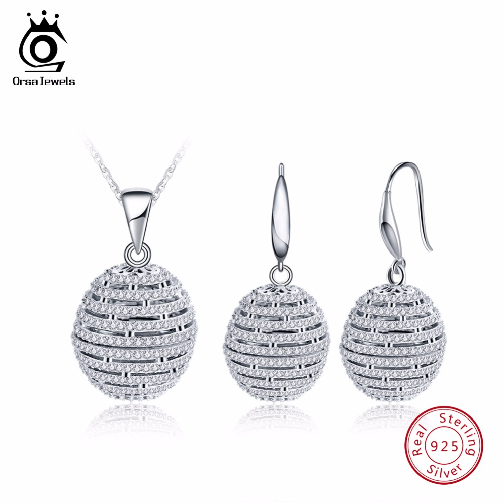 ORSA JEWELS Sterling Silver 925 Necklace&Earrings Sets Ball Shape Hollow Design AAA Cubic Zircon Women Party Jewelry Set SS20 delicate faux pearl hollow out ball shape necklace for women