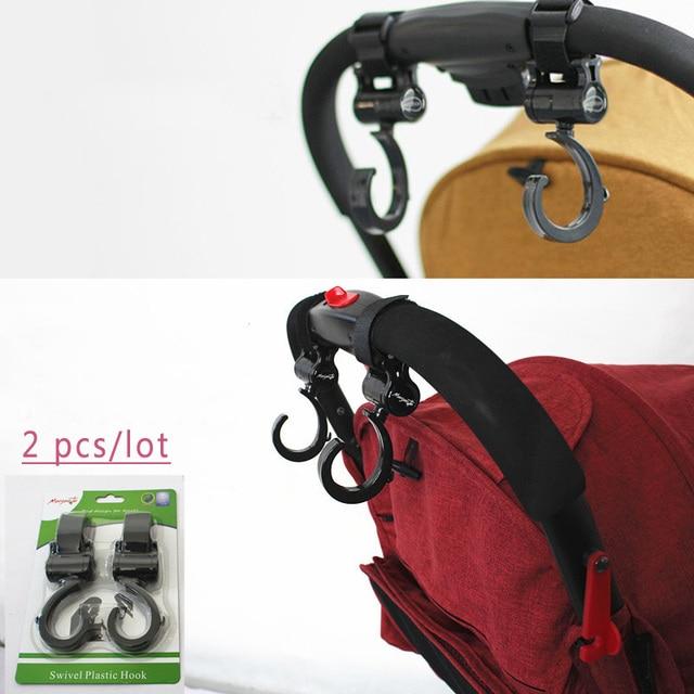 2pcs Lot Baby Stroller Hook Bag Handle Grab Prams Car Accessories Hooks Rotate 360 Bugaboo