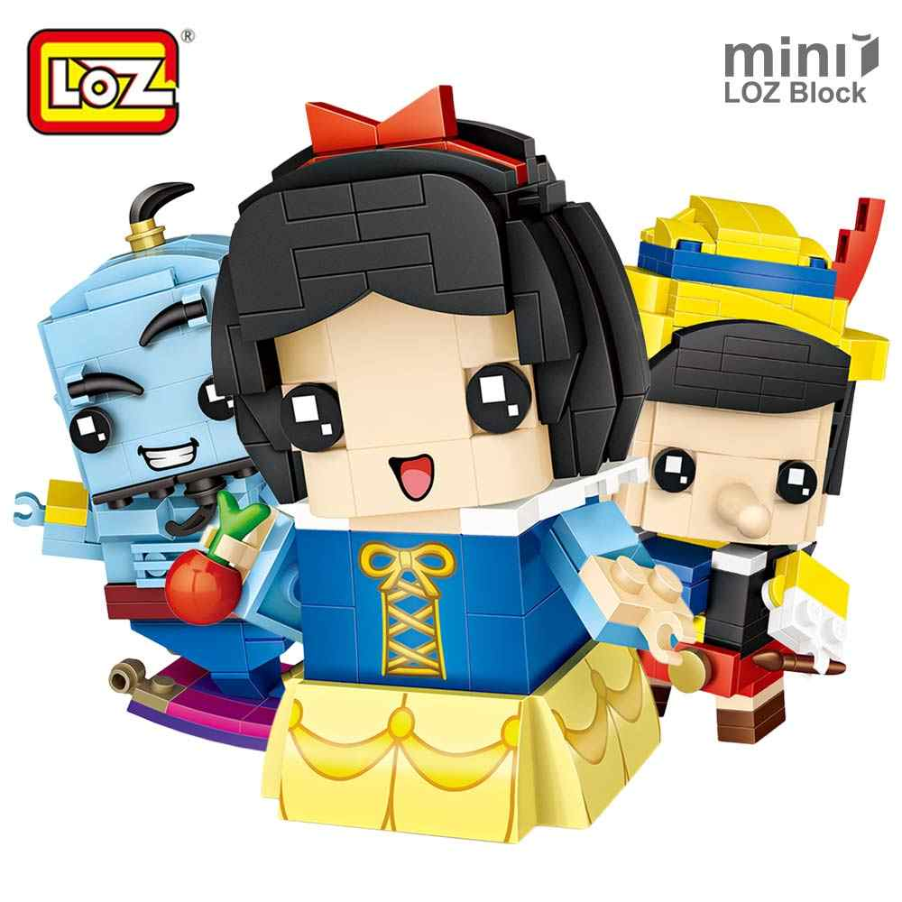 LOZ Mini Blocks Brick Toy Fairy Tale Puppet Snow White Mermaid Aladdin's Lamp Building Block Dolls Heads Action Figure Toy  6+