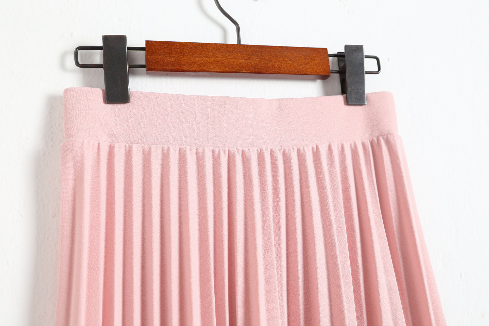 CRRIFLZ 19 Spring Autumn Fashion Women's High Waist Pleated Solid Color Half Length Elastic Skirt Promotions Lady Black Pink 13