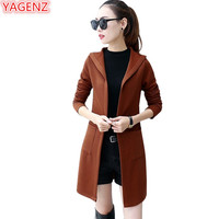 YAGENZ Women Long Cardigan Sweater Coats Autumn Winter Dress Jacket Fashion Female Student Knitting Sweater Slim