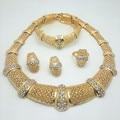 Nueva Exquisito Dubai Chapado En Oro de La Joyería de Lujo Gran Boda Nigeriano Beads Africanos Joyería Conjunto Traje Nuevo Diseño