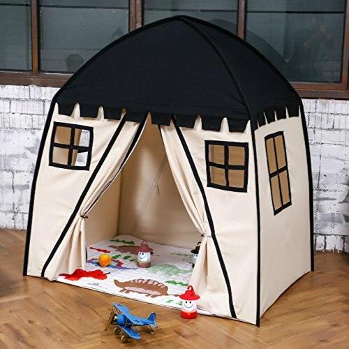 Большой детский игровой домик черный 100% хлопок холст Игровая палатка игры в помещении игрушка для игр на открытом воздухе малыши для малень
