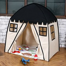цена на Large Children Playhouse Black 100% Cotton Canvas Play Tent Play House Indoor Outdoor Game Toy Little Tots Girls Boys Baby Gift