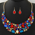 2016 Fashion Women Wedding Necklaces sets Vintage Colar Rhinestone crystal Choker Necklaces & Pendants Ethnic Maxi jewelry sets