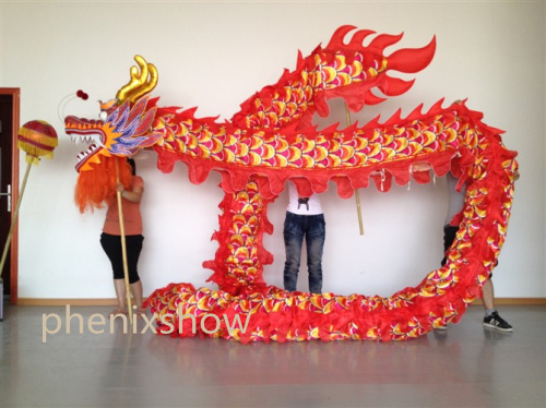 10m Length Size 5 silk print fabric  8 student  Chinese DRAGON DANCE ORIGINAL stage prop parade Folk Festival  Costume