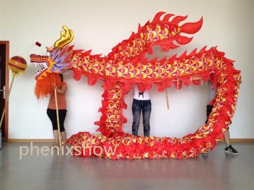 Ұзындығы 10 м 5 өлшемді жібек баспа матасы 8 студент қытайлық DRAGON DANCE ОРИГИНАЛ сахналық шеру Халықтық фестиваль костюмі