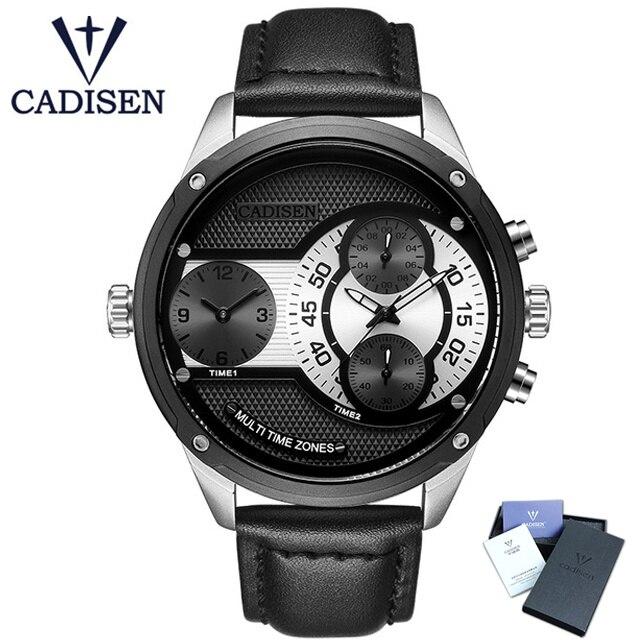 2017 Luxury Brand CADISEN Men Watch Quartz Watches New Design Dual Time Zone Casual Military Waterproof Wristwatch Relogio Man