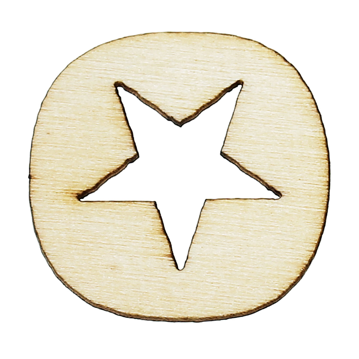 Wood Cabochons Scrapbooking Embellishments Findings Square Natural Star Hollow 25mm(1)x 25mm(1),50 PCs new