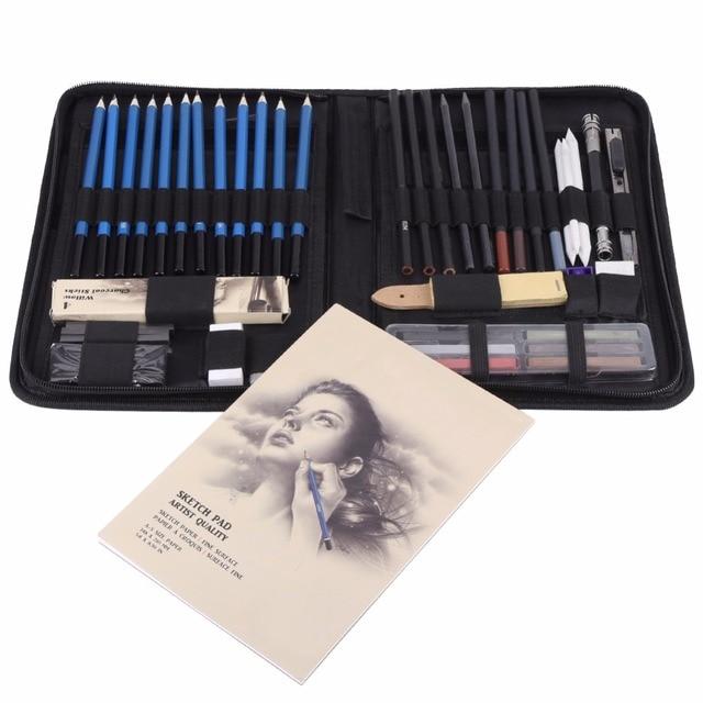 48 개/몫 전문 스케치 드로잉 연필 키트 캐리 백 아트 페인팅 도구 세트 화가 학생을위한 블랙 아트 용품