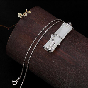 Image 4 - 2019 Mothers Day Jade cuarzo piedra natural Bamboo Pendant 100% Real 925 Sterling Silver Women Necklace pendant Jewelry P016
