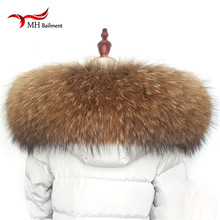 2018 Real Raccoon Fur Scarf Women 100% Natural Raccoon Fur Collar Winter Warm Shawl Fur Collar Scarves L#9