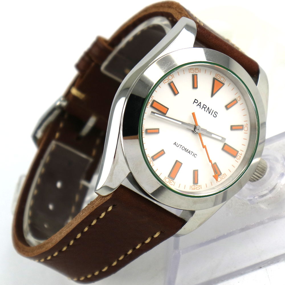 40mm Parnis white dial Sapphire glass 21 jewel Miyota automatic mens watch 42mm parnis withe dial sapphire glass miyota 9100 automatic mens watch 666b