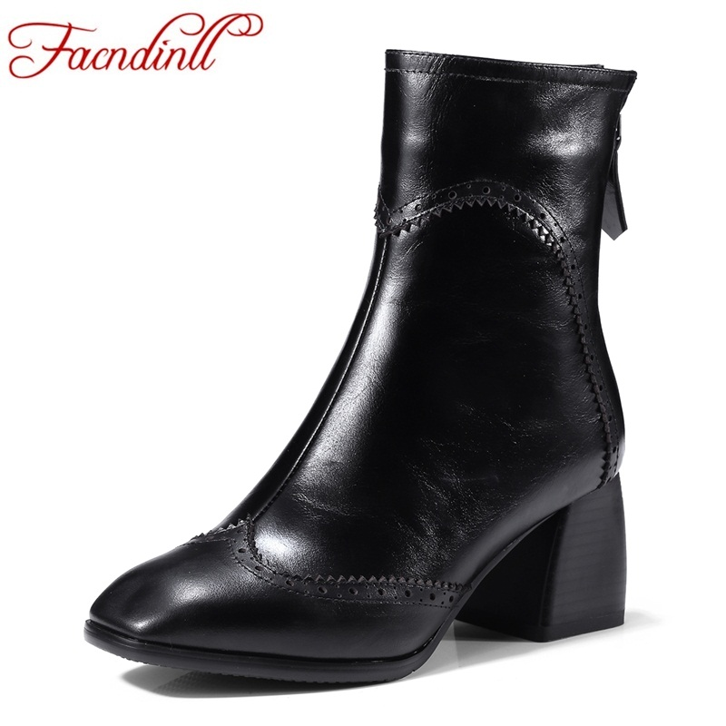 FACNDINLL 2017 winter shoes genuine leather boots for women sexy high heels square toe black zipper warm snow riding boots shoes facndinll genuine leather sandals for
