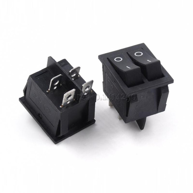 KCD6 25x31mm Black Big Rocker Switches Two Way Switch 4 Pin 2