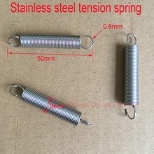 50pcs/lot 0.8 wire OD=8mm stainless steel extension tension spring springs Length 25mm--80mm