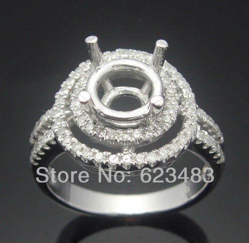 ROUND 7.5mm 14kt WHITE GOLD SEMI MOUNT ENGAGEMENT RINGS SETTING Semi Mount RingROUND 7.5mm 14kt WHITE GOLD SEMI MOUNT ENGAGEMENT RINGS SETTING Semi Mount Ring