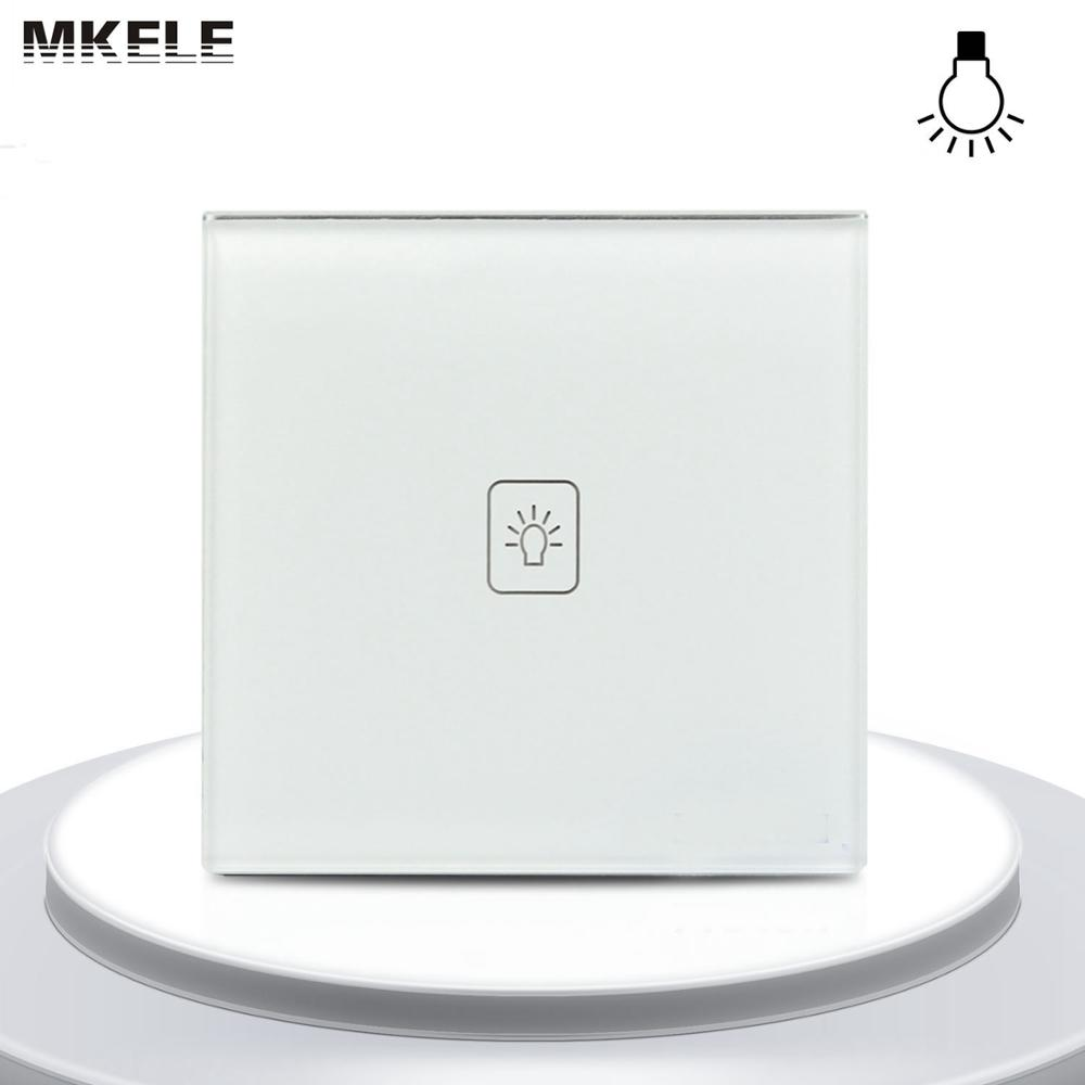 High Quality UK Standard 1 Gang Way LED Touch Electrical Switches Dimmer Switch White Glass Panel Light Wall Smart makerele 3gang1way uk wall light switches ac110v 250v touch remote switch