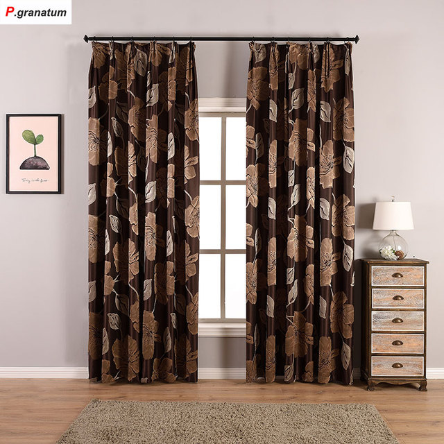 One Panels Jacquard Curtains For Living Room Window Decoration Yarn Dyed Flower Pattern Curtain Fabric Brown