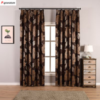 One Panels Jacquard Curtains For Living Room Window Decoration Yarn Dyed Flower Pattern Curtain Fabric Brown Drapes Bedroom