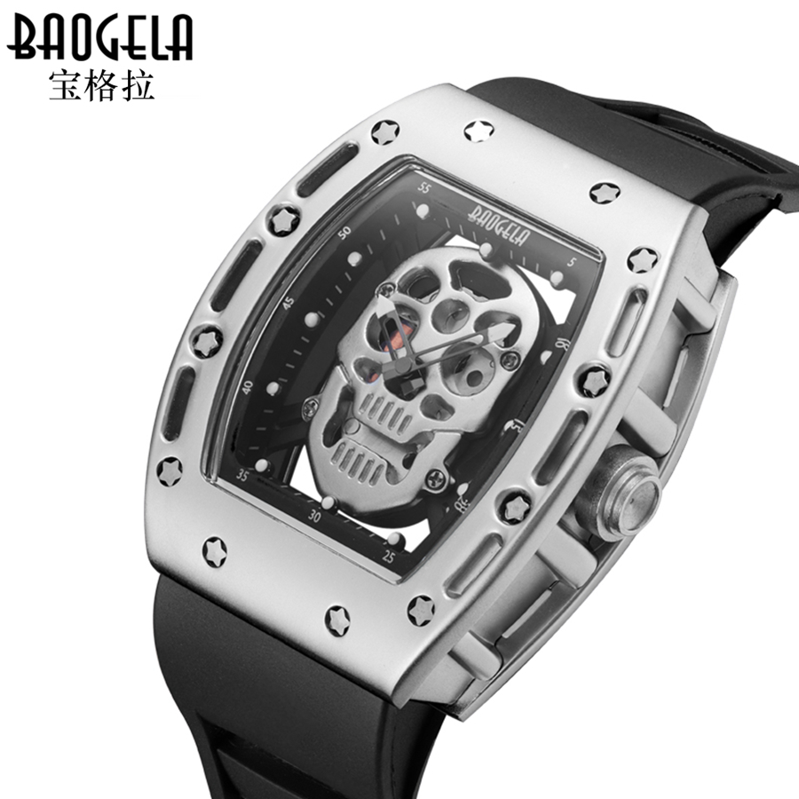 Quality Mens Watches Skull Designed BAOGELA Quartz Silicone Chronograph Sports Watch Clock for Men Male Students Reloj Hombre armiforce quartz men watches fashion genuine leather chronograph watch clock for gentle men male students reloj hombre