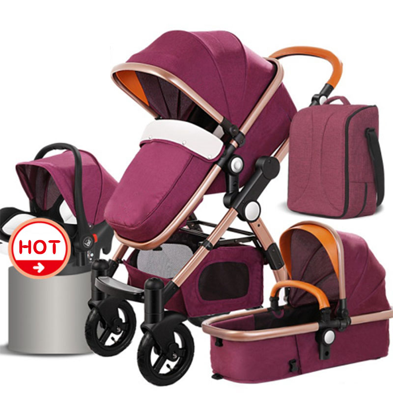 4 in1 baby strollers folding baby car aluminium alloy frame high quality baby stroller gold baby все цены