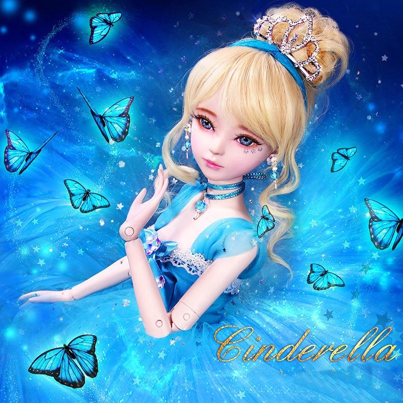 60cm original artesanal princesa cinderela bonecas conjunto 01