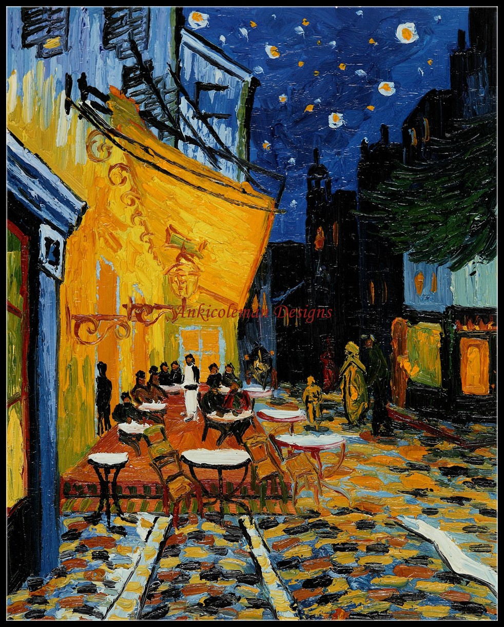 Cafe Terrace at Night - Kits de punto de cruz contado - Costura hecha - Artes, artesanía y costura