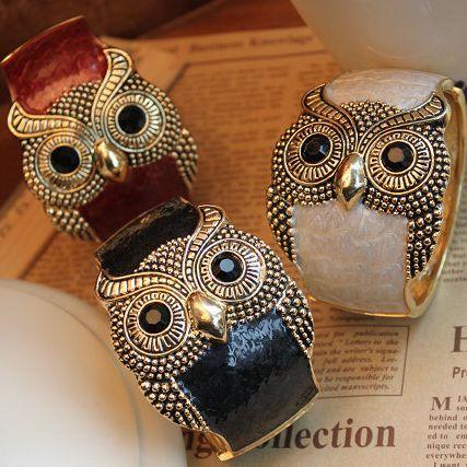 20pcs/lot Wholesale Fashion Jewelry Vintage Charm Mix Match Vintage Oil Owl Bracelet For Women