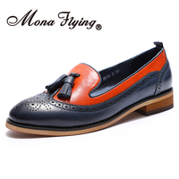 Mona Flying Women Leather Comfort shoes Hand made Penny Loafer Causal Slip on Flat Shoes for Women Ladies H618 2