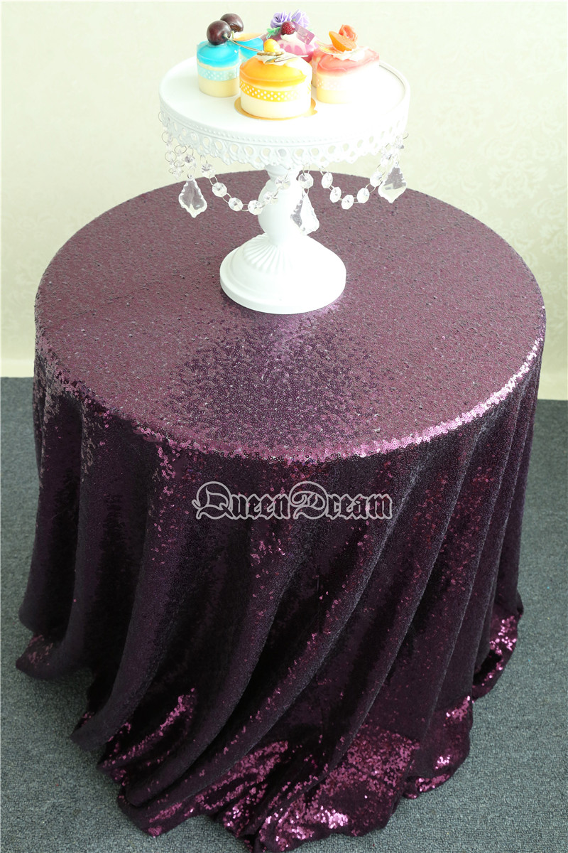Home purple sparkle - 225cm Round Glitz Fabric Excellent Wedding Tablecloth Purple Brides Dress Fabric Sparkle For Glam China