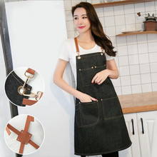 1 piece denim apron overalls coffee shop restaurant kitchen floral handmade anti-fouling fashion Korean belt strap black apron