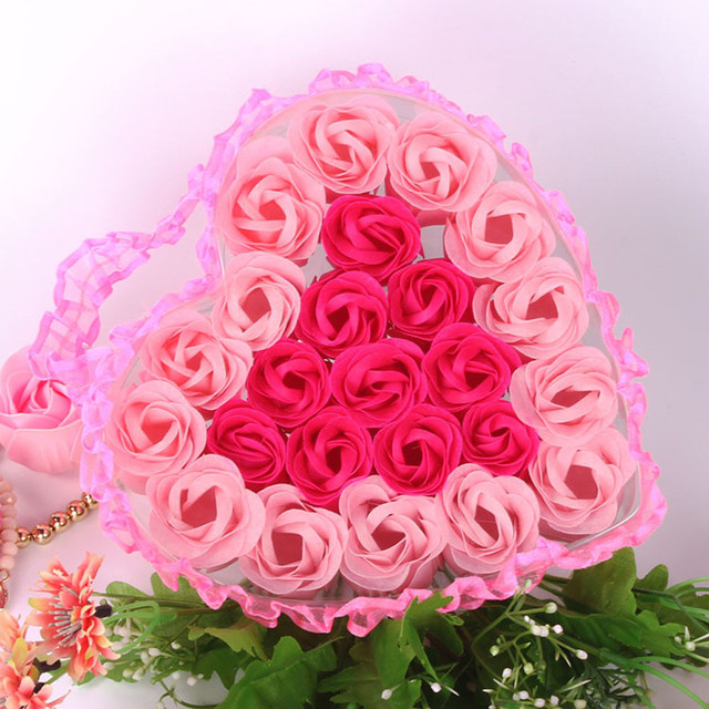 24Pcs Rose Flower Soap Heart Scented Bath Body Petal Rose Flower Soap Wedding Decoration Gift For Lovers 4