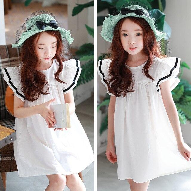 242d2b9f07b3 2018 Summer Baby Girls Dress White Beach Dress Ruffle Fly Sleeve ...