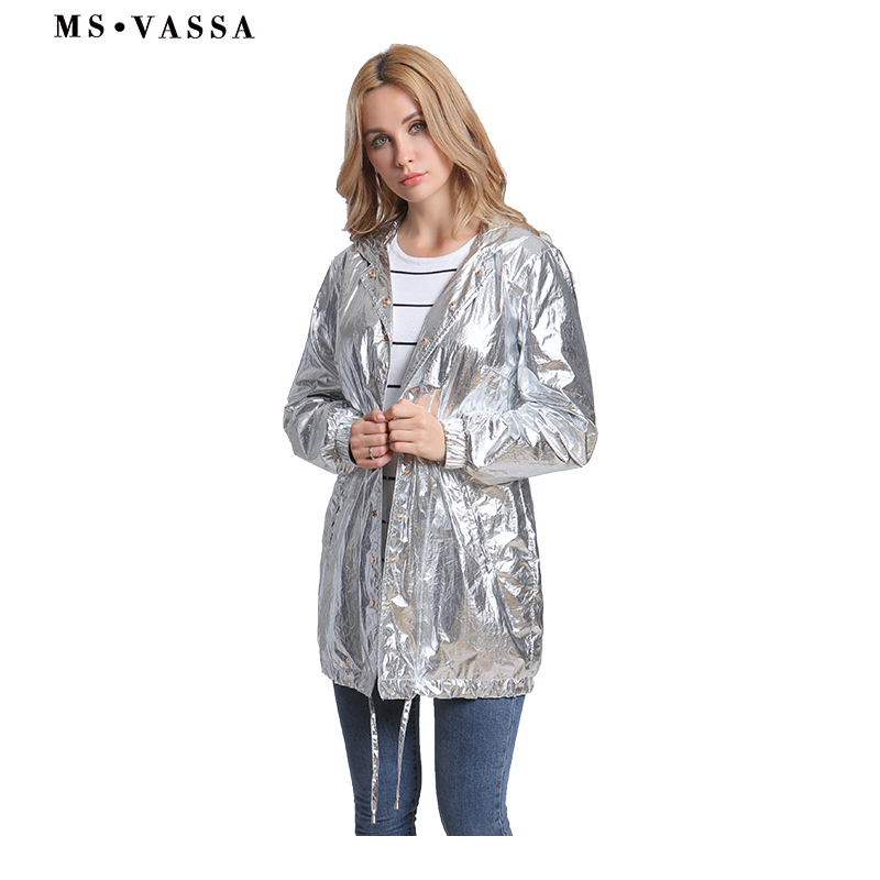 MS VASSA 2018 New Women   Trench   Autumn Gloss Silver Fashion Coat Hooded Ladies Adjustable Waist Tops Plus Size Windbreaker