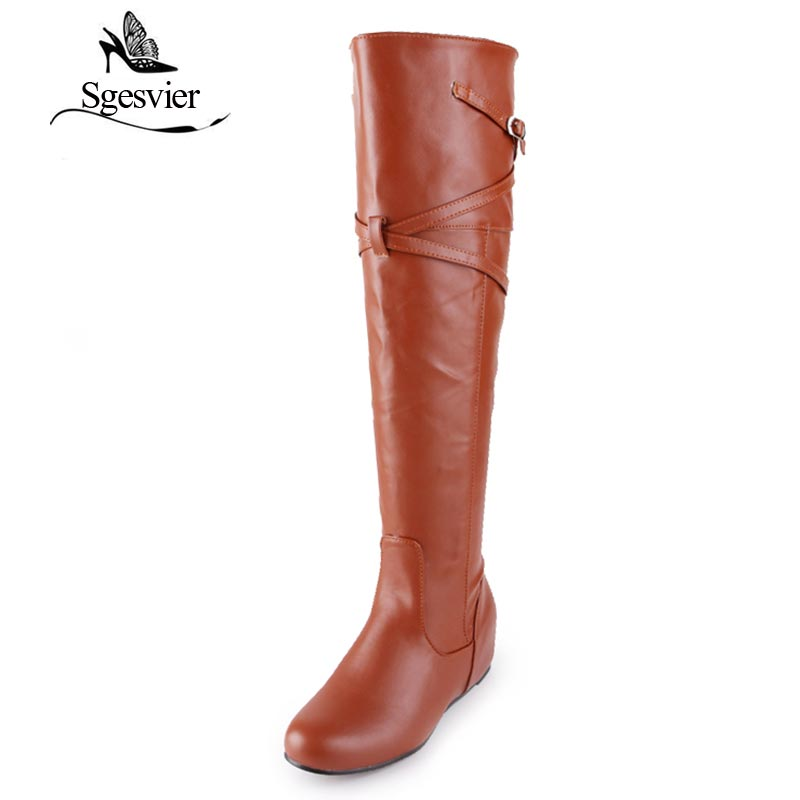 SGESVIER Women Boots 2017 Winter New Dress Casual Knee high Round Toe Long Boots Buckle Height Increasing Lady Shoes 30 47 OX097