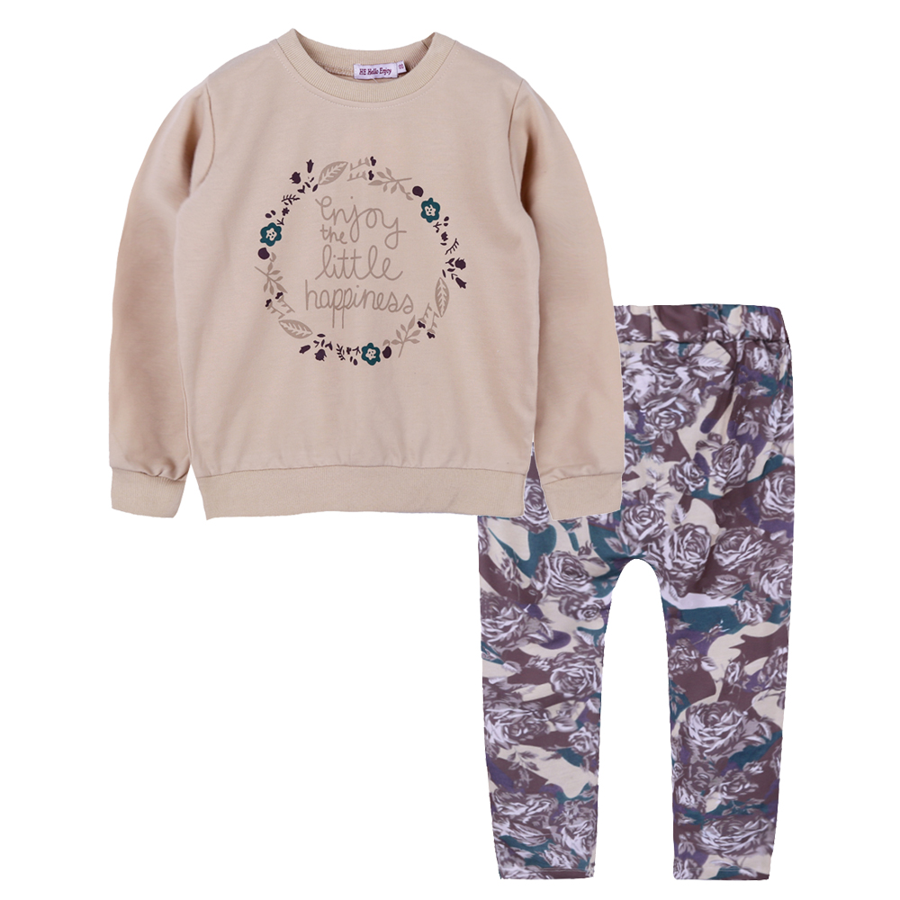 girls clothing sets autumn winter 2018 brand casual kids clothes girls Long sleeve sweatshirt+ print pants sport suit