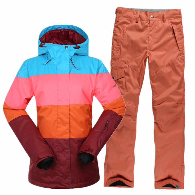 Лыжная куртка + брюки женский лыжный костюм зимний теплый плотный зимний спортивный водонепроницаемый дышащий сноуборд наборы