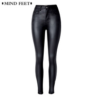 MIND FEET Women Skinny Stretch Jeans Sexy PU Leather Moto & Pencil Pants Black Mid Waist Ladies Denim Full Length Female Trouses