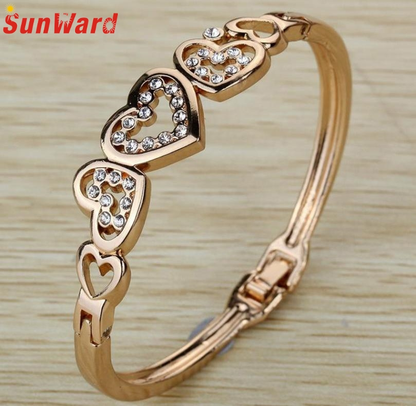 Jewelry Bangle Hollow Heart Carve Crystal Charming Bangle Women Delicate